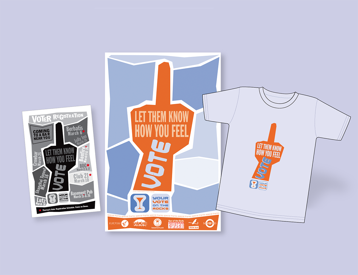 Brand, logo, and graphic design, including posters, tee shirts for voter registration group.