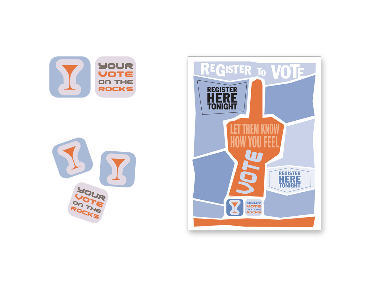 Brand, logo, and graphic design, including flyers, stickers for voter registration group.