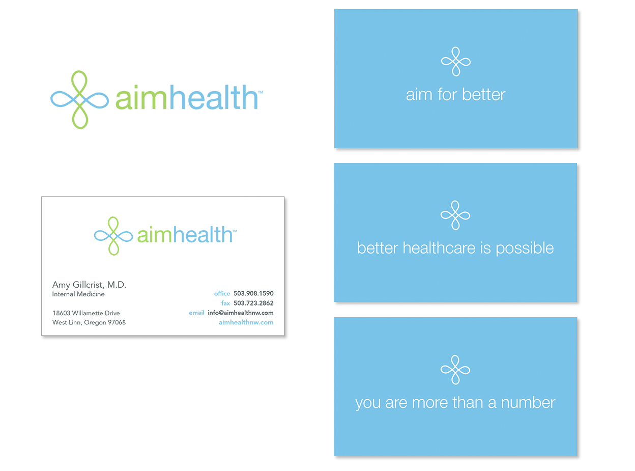 Logo, and Identity package including business cards and letterhead for a primary care clinic.