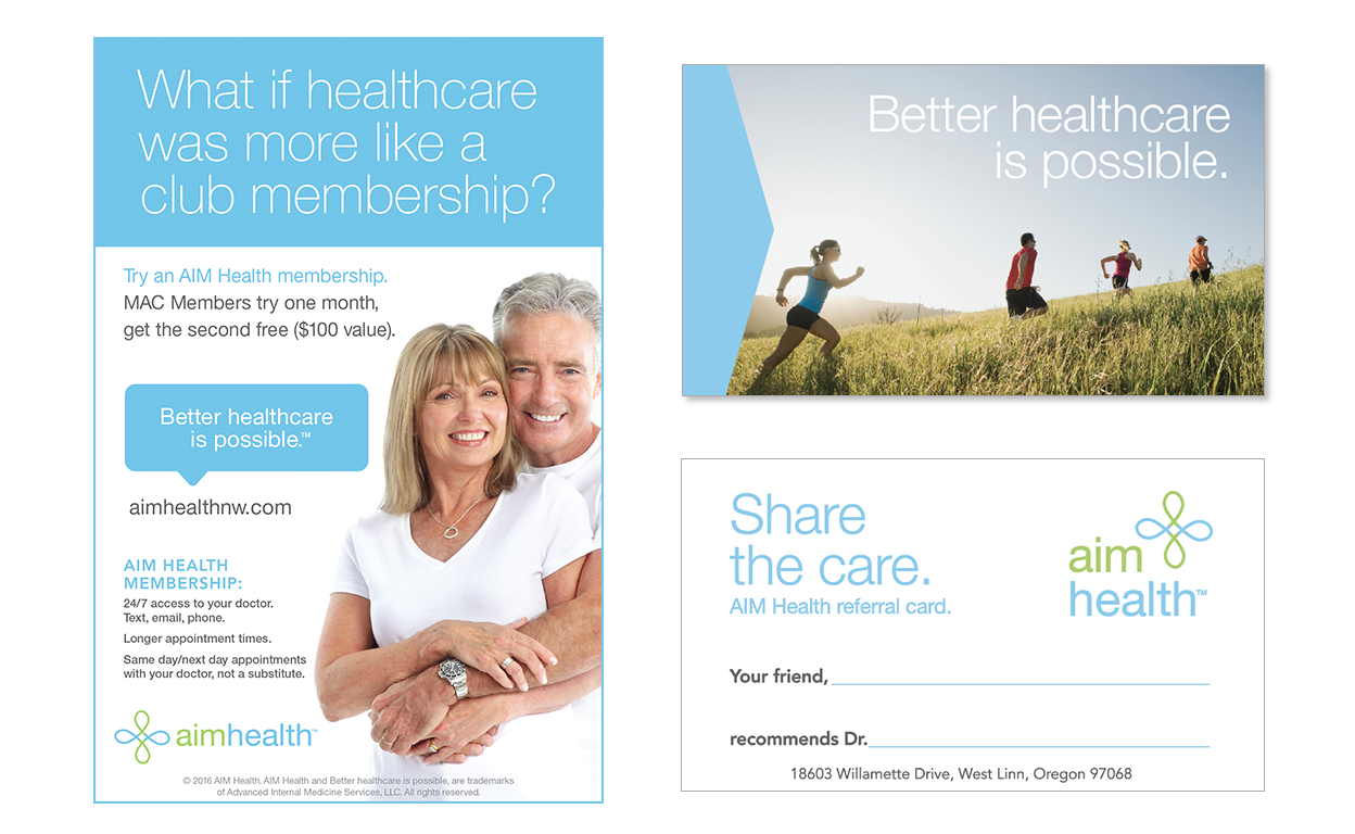 Logo, brand ad, and collateral for primary care clinic.