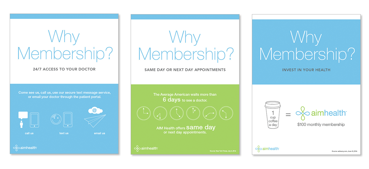 Logo, signage and infographics for a AIM Health a membership & primary care clinic.