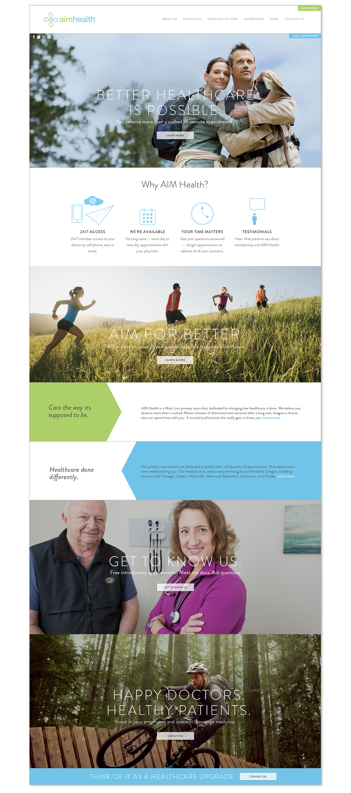 Website and infographic design with parallax function for a primary care clinic.