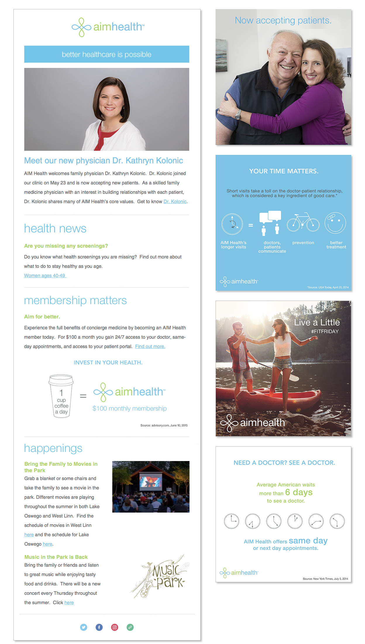 Social Media templates, infographics and email template.