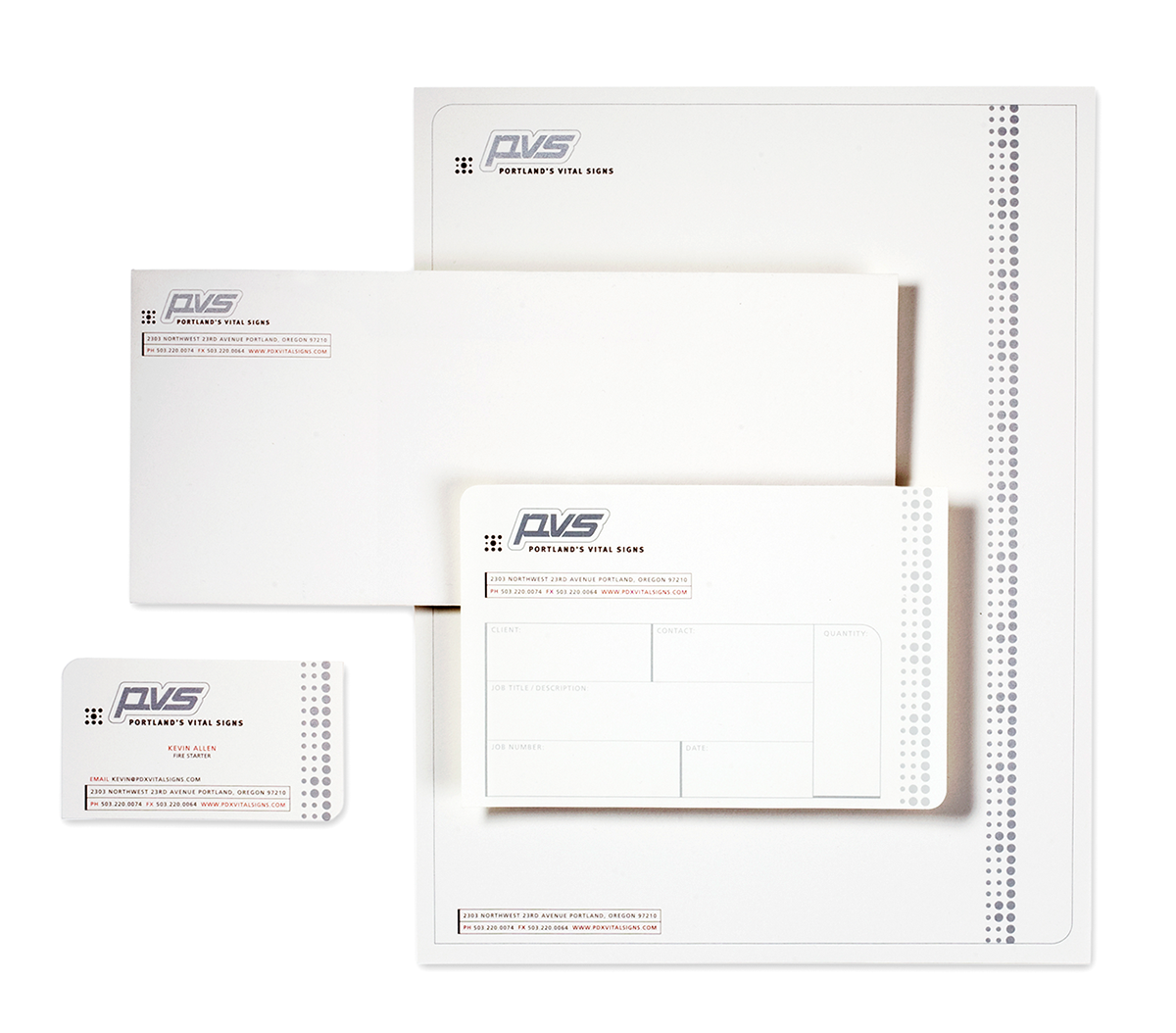 Brand identity package graphic design with business card, envelope, letterhead.