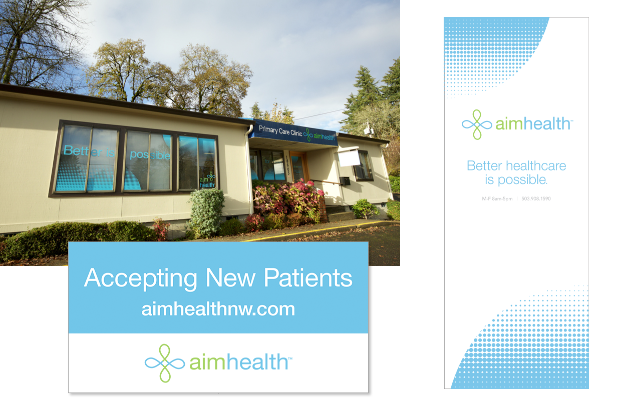 Logo, signage and window decals for a primary care clinic.