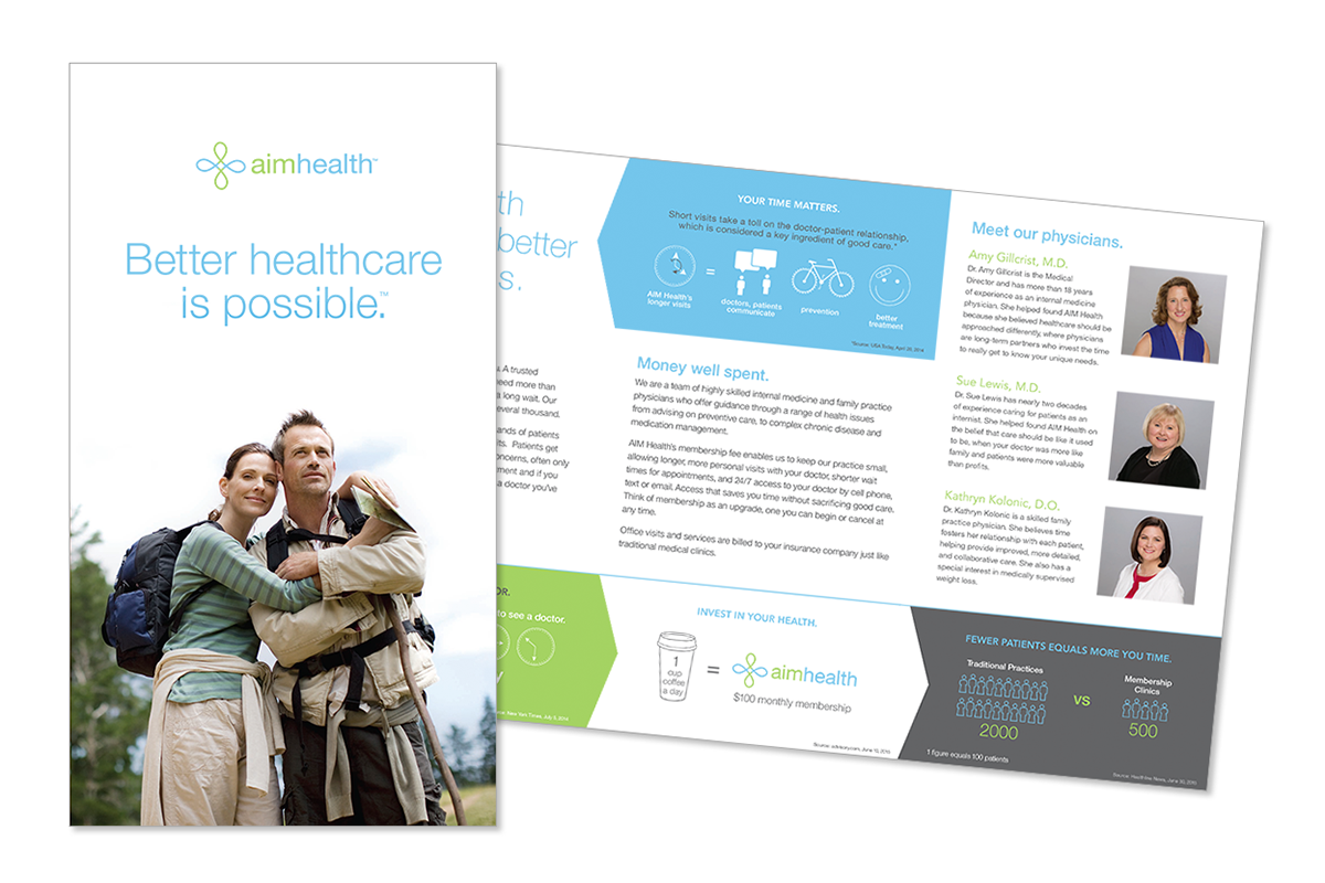 Logo, brochure and infographics for a primary care clinic.