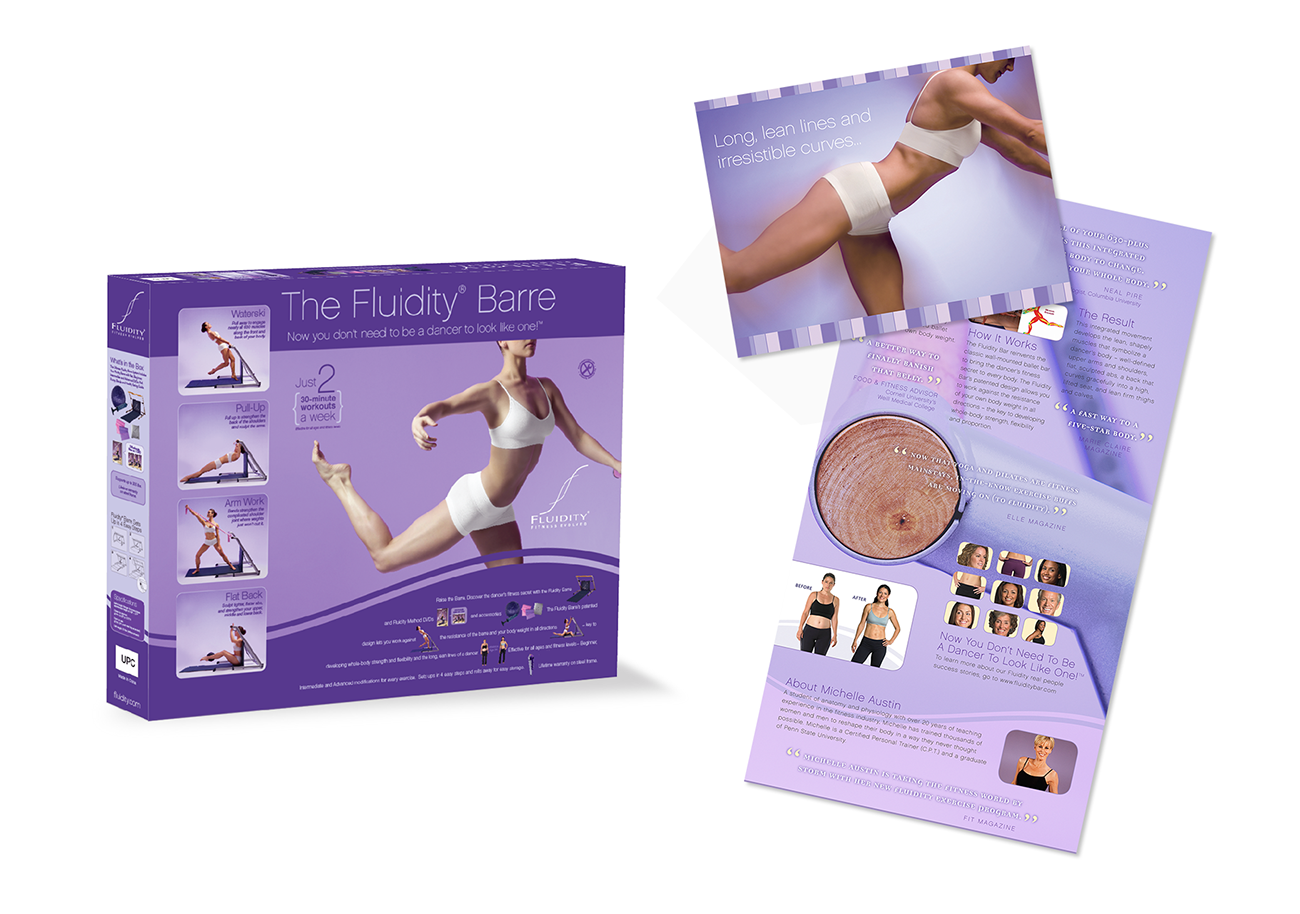 Brochure graphic design and package design for Fluidity Barre