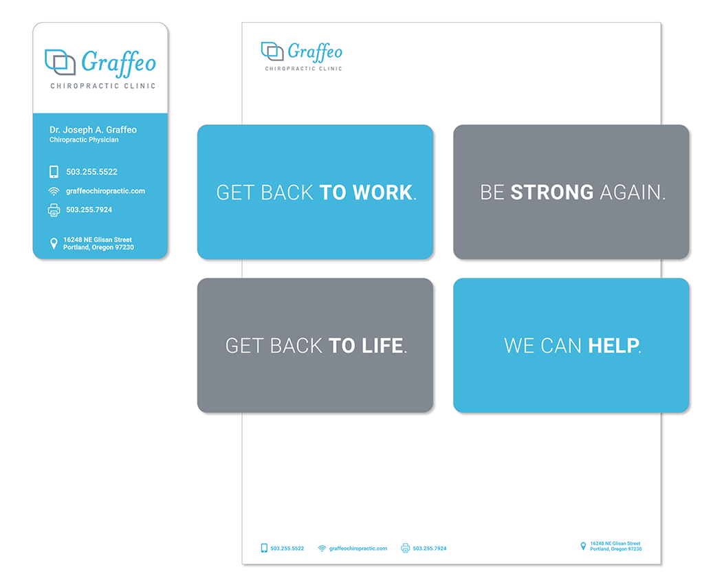 Logo, identity package including business card and letterhead for a chiropractic clinic.
