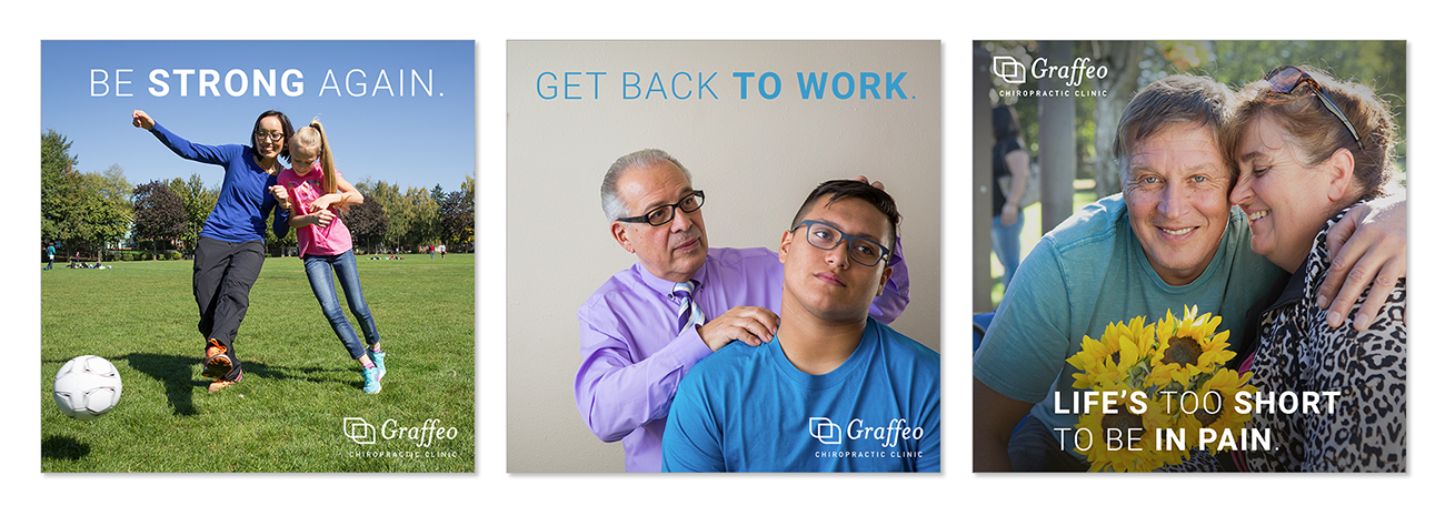 Social media templates, infographics and graphic design and art direction for a chiropractic clinic.