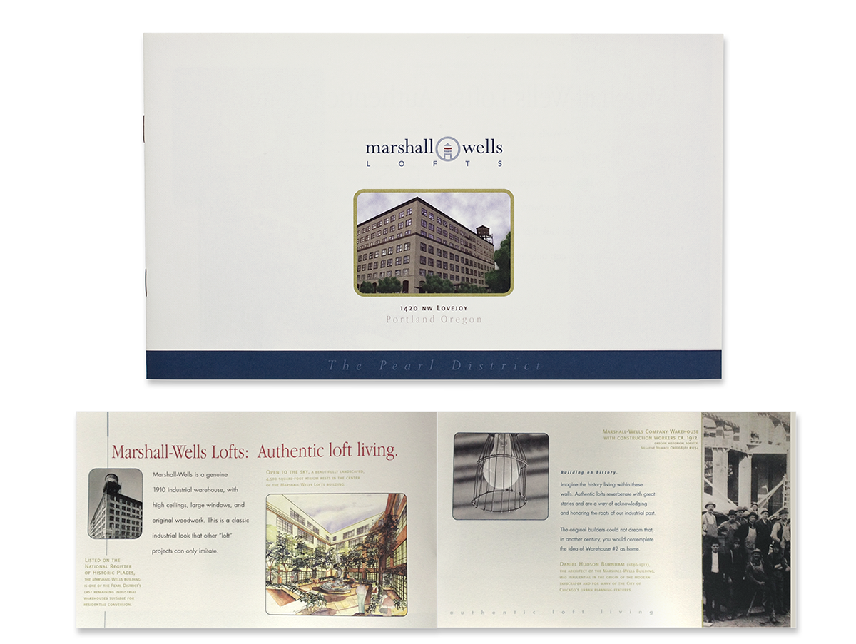 Logo, brand identity, business card, letterhead and brochure graphic design for Marshall-Wells lofts.